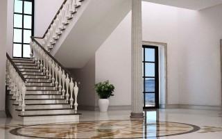 Стильная отделка лестницы камнем. Недорогая каменная лестница
