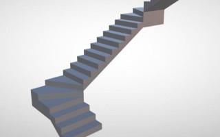 Расчет лестницы с тремя пролетами с поворотными ступенями