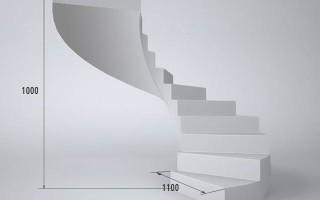 Расчет винтовой бетонной лестницы: калькулятор