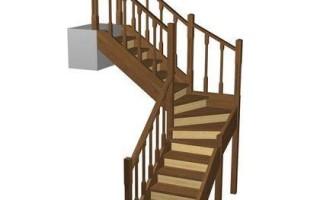 Расчет лестницы с поворотом на 90° с поворотными ступенями