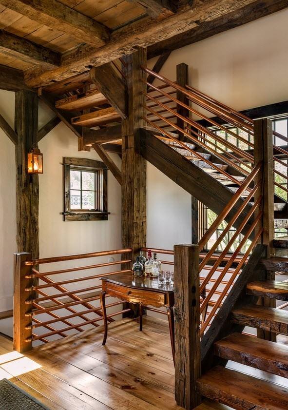 кантри стиль с лестницей