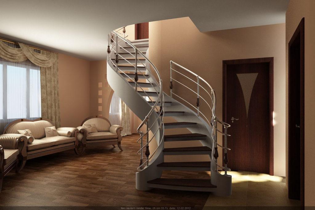 бетонная лестница на тетиве с открытыми ступенями