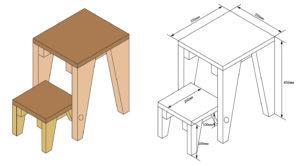 винтовая конструкция стул-стремянка