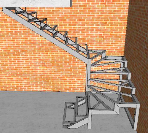 металлический каркас поворотной лестницы