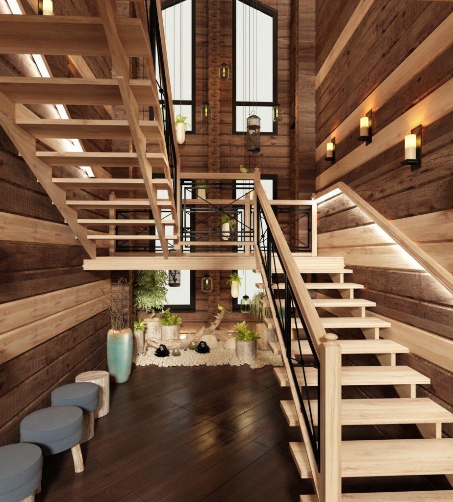 П-образная лестница в стиле шале