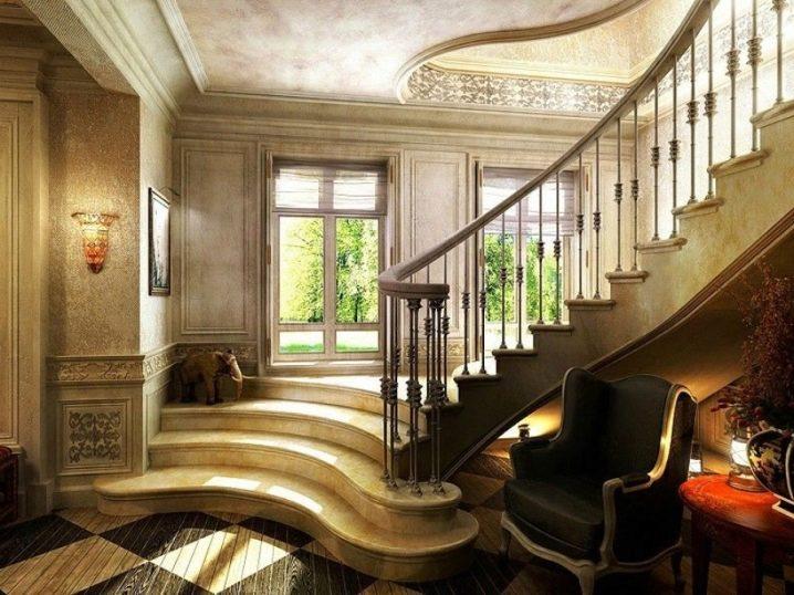изогнутая лестница в стиле арт деко