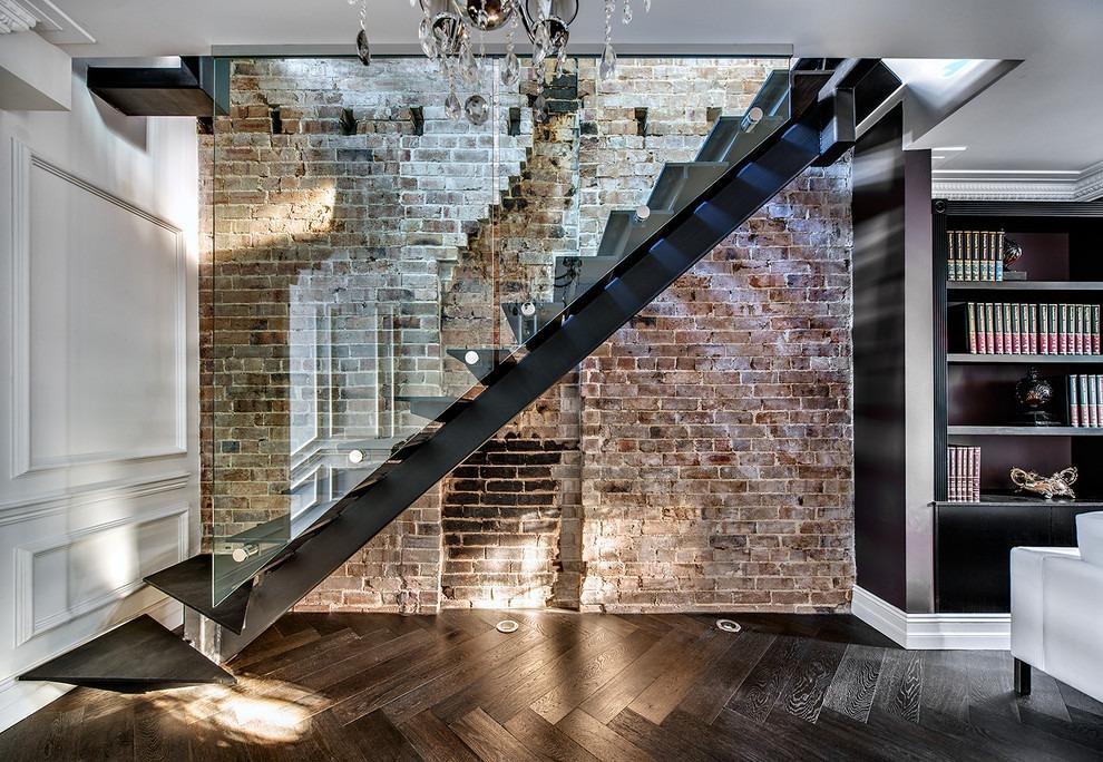 лофт стиль с лестницей