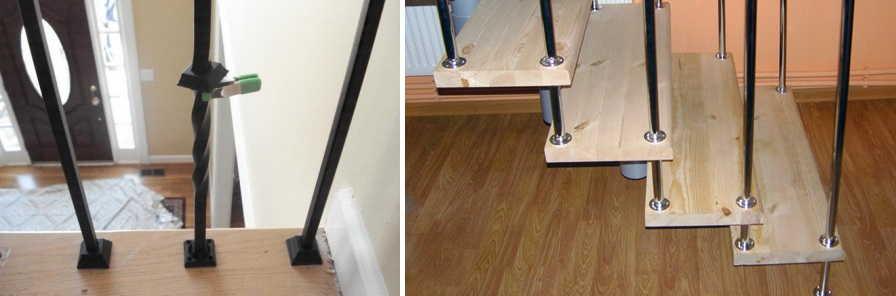 крепление металлических балясин к деревянной лестнце