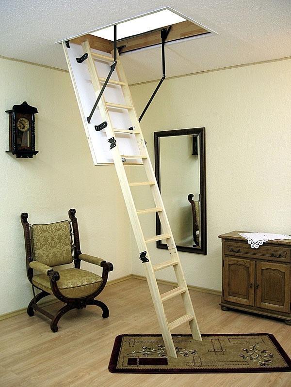 угол наклона лестницы на чердак