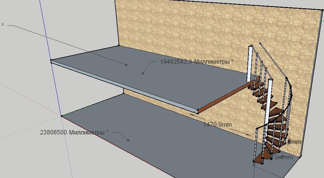 3D чертеж винтовой лестницы