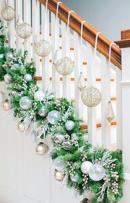 украшение лестницы к новому году