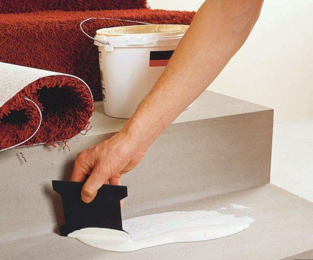 фиксация ковролина на клей