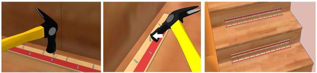 размещение фиксирующих планок на лестнице