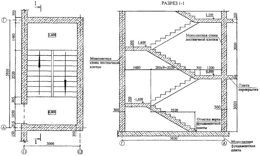 чертеж лестницы в разрезе дома