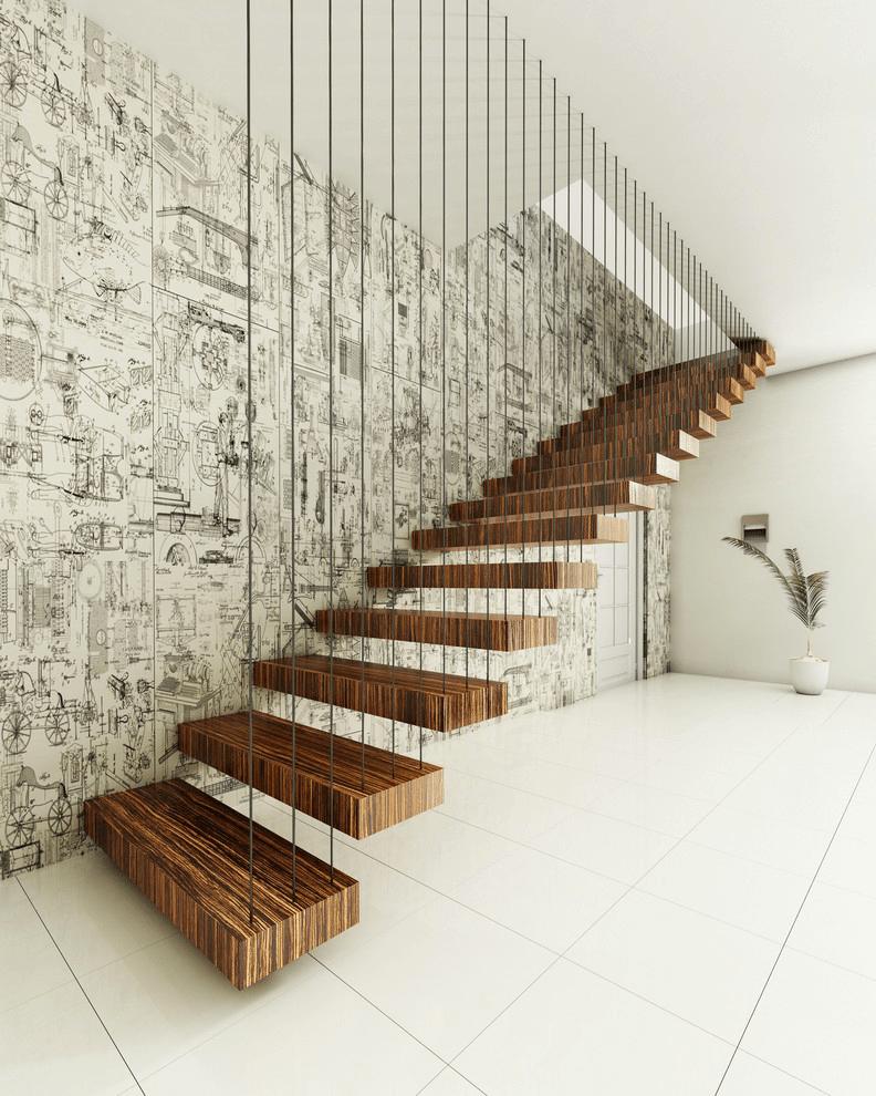 дизайн прямых и поворотных лестниц