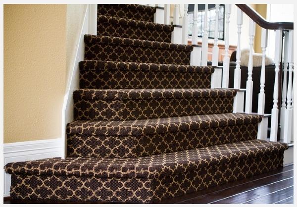 отделка ковролином бетонной лестницы