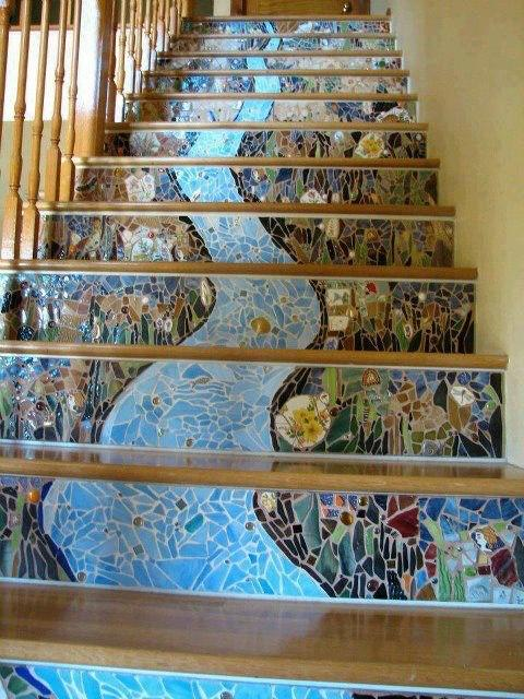 плитка с рисунком на бетонную лестницу